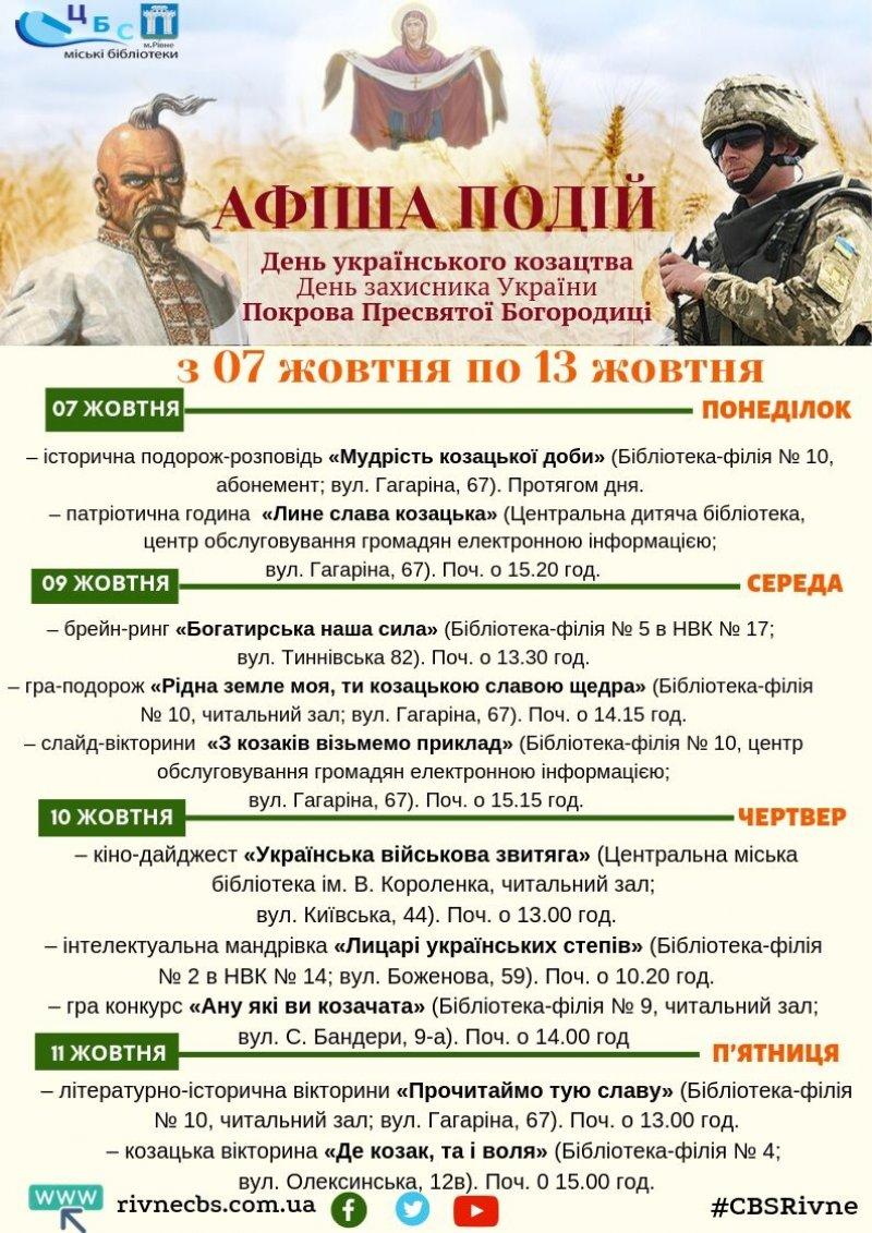 До Дня українського козацтва та Дня захистника України