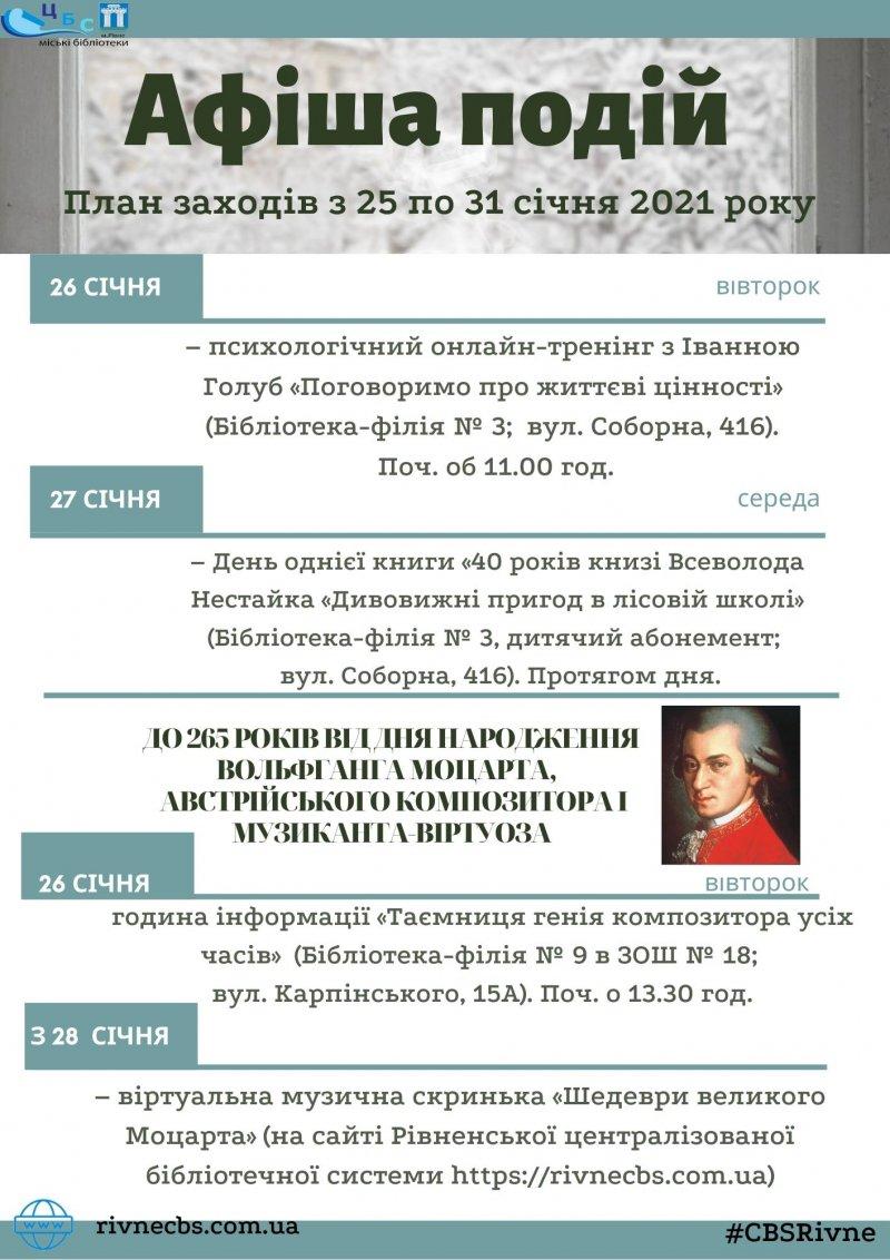 План заходів з 25 по 31 січня 2021 року
