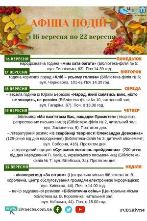 План заходів з 16 вересня по 22 вересня